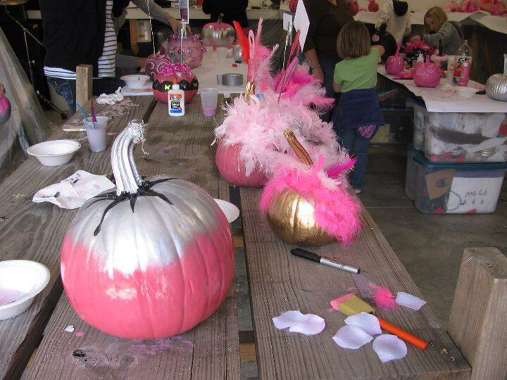 Alisha's Pink Pumpkin Painting Party, reminding ladies to get their mammograms. @PinkPumpkinPrty Alisha puts on free parties where Pink Warriors come and paint pumpkins pink, then they deliver the pumpkins around as beautiful little pink reminders. Only 4 colors are allowed at the parties: white for purity; silver for hope; black for cancer; pink for awareness.