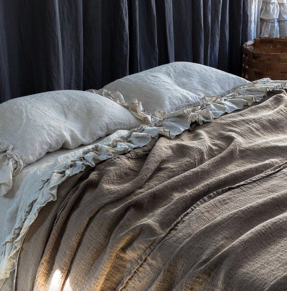 Linen Bedspread Soft And Puffy Textured Rustic Style Linen Etsy Bed Covers Linen Bedspread Silk Duvet Cover