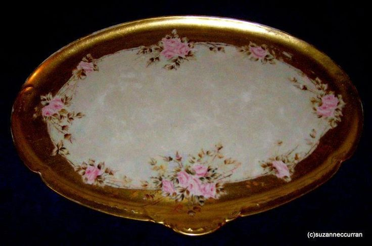 Antique GDA Limoges Hand Painted Victorian Pink Roses & Gold Vanity Dresser Tray | Pottery & Glass, Pottery & China, China & Dinnerware | eBay!