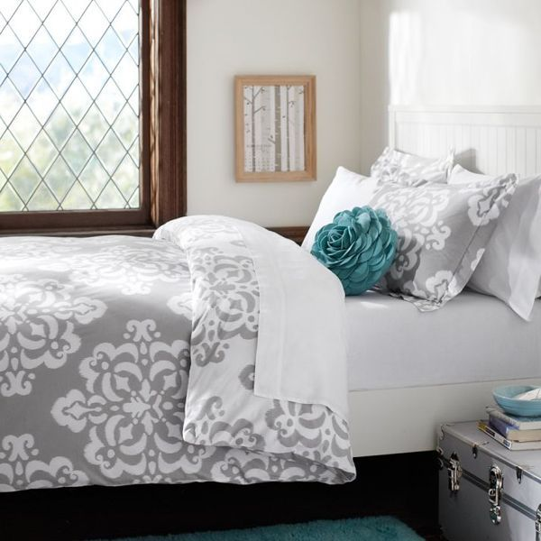 Simple Bedroom With Turquoise Grey White Comforter Sets