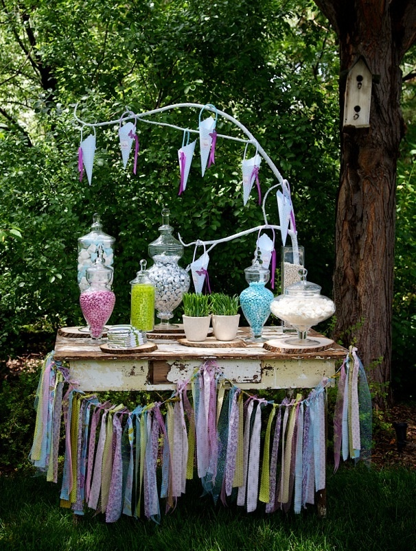 woodland fairy party with a candy bar