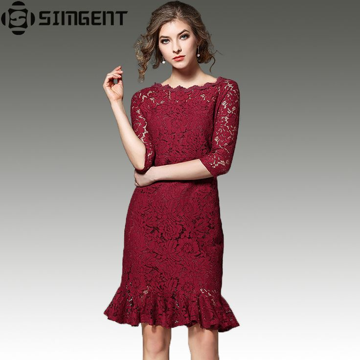 Simgent New 2017 Spring Three Quarter Sleeve Slash Neck Wraped Mermaid Hollow Out Lace Summer Dresses Casual Robe Vintage Jurken