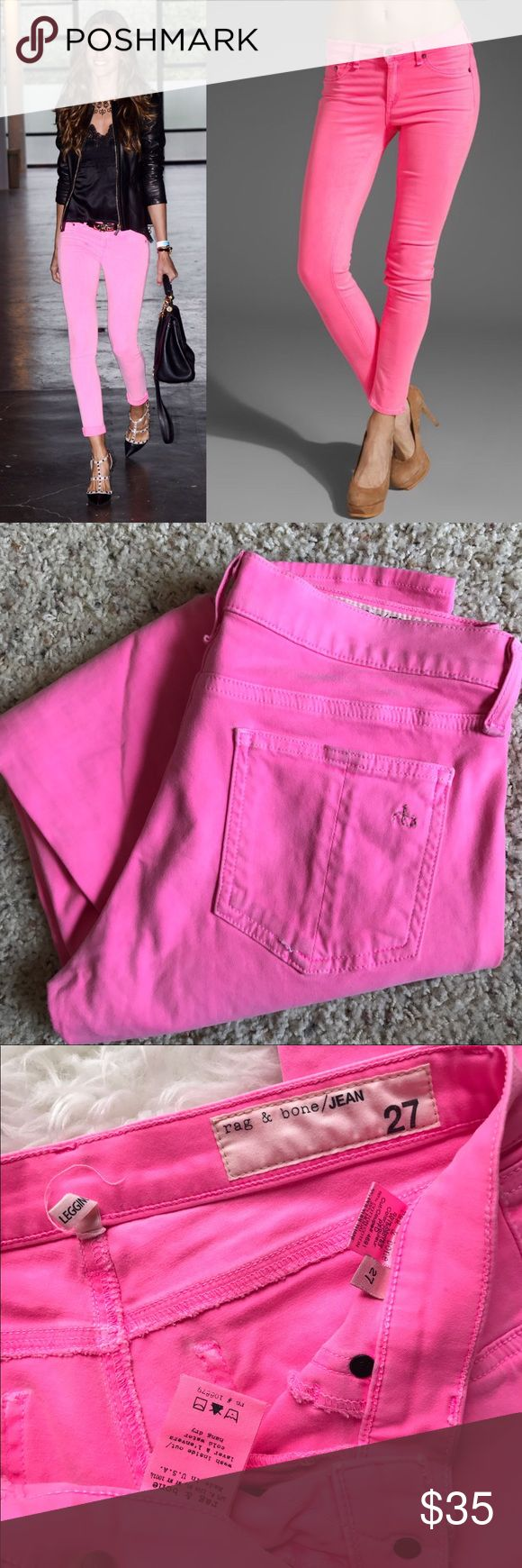 """Rag & Bone Legging Neon Pink In good used condition. Some pulled stitching (see pictures) but still in good, wearable condition. Some piling in thigh area. Inseam is approx 29"""" rag & bone Jeans"""