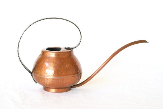 COPPER WATERING CAN, Modern Rustic Watering Can, Solid Copper, 1960s or 1970s, Made in Switzerland, Rustic Modern Decor, Swiss Copper Can