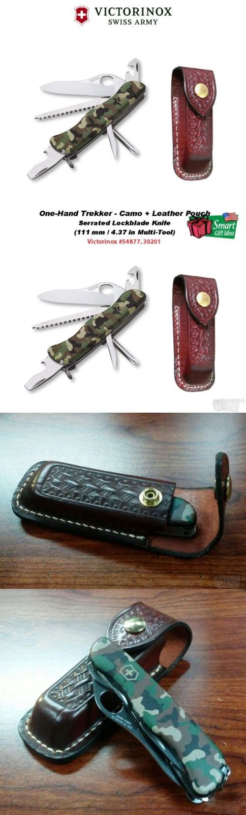 Other Camping Knives and Tools 100237: Victorinox One-Hand Trekker, Camo, 111Mm Tool + Leather Pouch #54877_30201 -> BUY IT NOW ONLY: $54.27 on eBay!