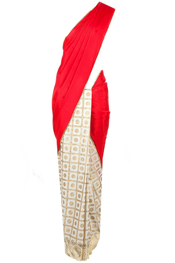 Red and gold polka Masaba saree available only at Pernia's Pop-Up Shop.