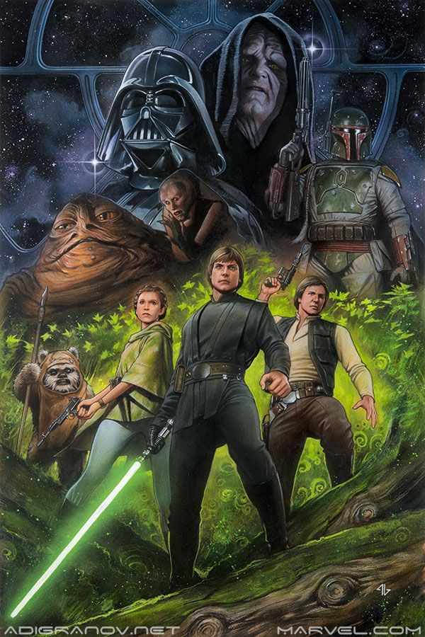 alwaysstarwars:  margaretems:    Star Wars - Return of the Jedi (for the Original Trilogy Remastered OGN) by Adi Granov    Not gonna lie, I love RotJ art that doesn't feature slave Leia!