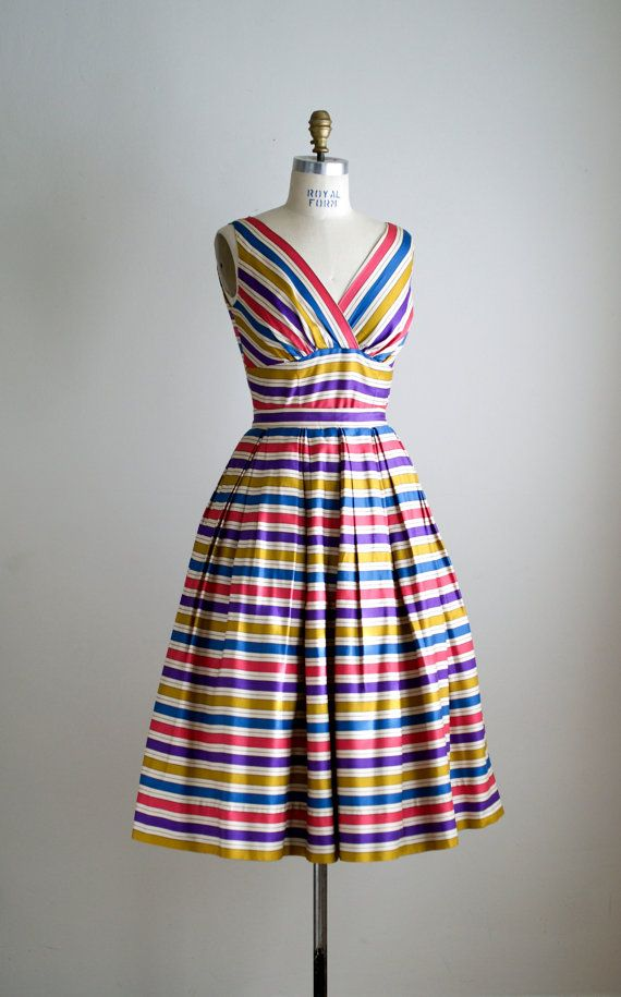 50s dress / 1950s striped two piece dress / by VacationVintage, $210.00