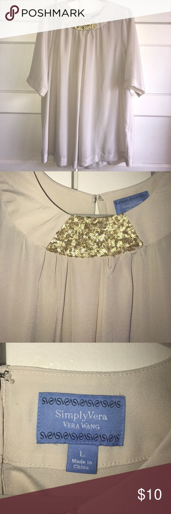 Simply Vera Sequined Top This top is gently used. Still in very good condition. 100 % Polyester. Gold sequin collar. Cream in color. Fabric is very light weight. Simply Vera Vera Wang Tops Blouses