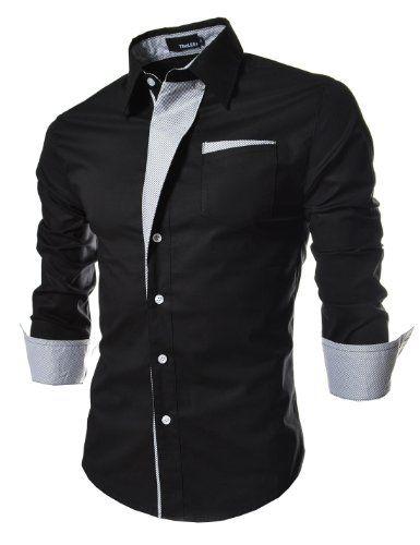 TheLees Mens Casual Long Sleeve Stripe Patched Fitted Dress Shirts Black X-Large(US Medium) :: linea que sobresale a la linea de cierre, botones del mismo color
