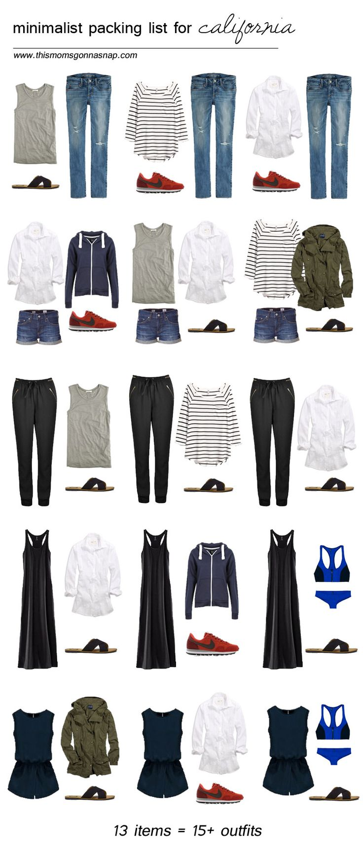 mom style, packing list, minimalist wardrobe, packing light, california trip, california vacation, packing list for california