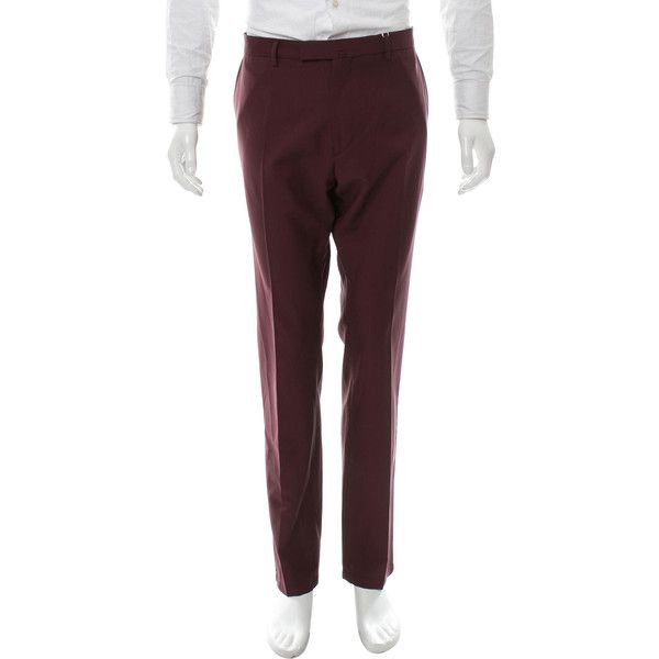 Pre-owned Valentino Wool Straight-Leg Pants ($325) ❤ liked on Polyvore featuring men's fashion, men's clothing, men's pants, men's dress pants, burgundy, mens wool dress pants, mens zipper pants, mens burgundy pants, mens dress pants and mens zip off pants