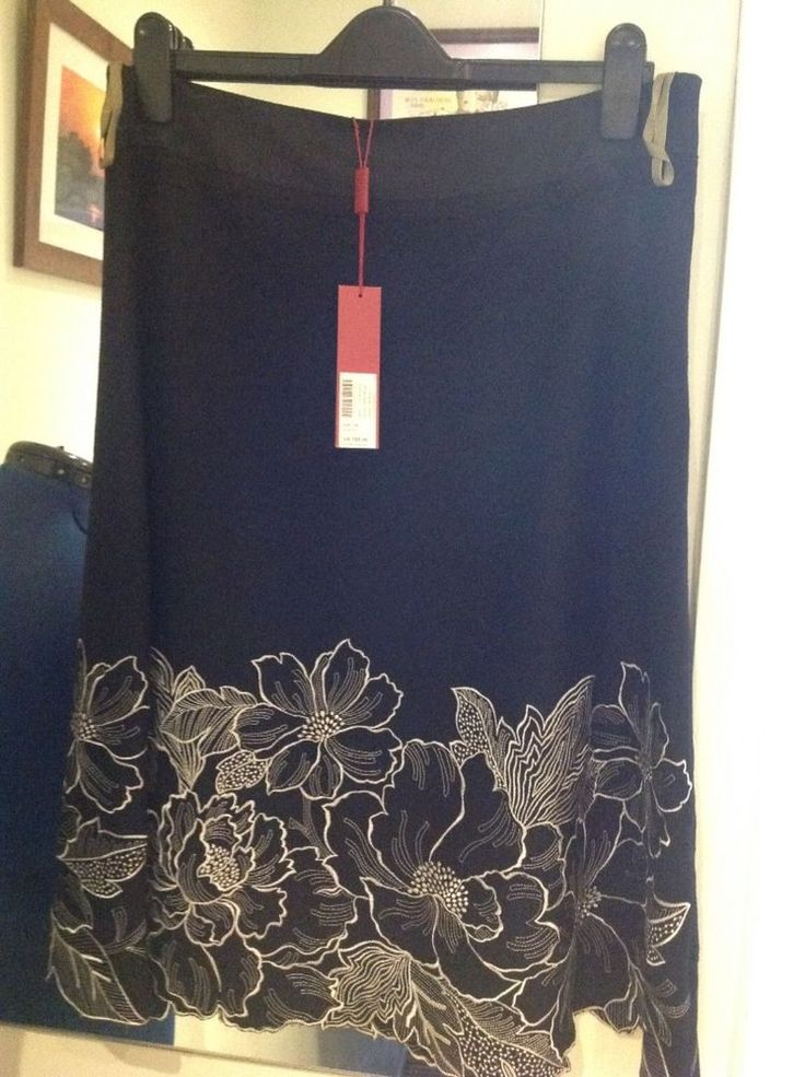 Brand new Monsoon ladies black embroidered skirt size 14