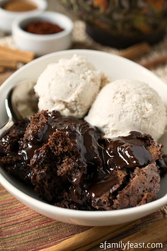 Mexican Hot Fudge Pudding Cake - A spiced up version of the classic Hot Fudge Pudding Cake.  Cinnamon and Mexican Chili Powder give this rich chocolate dessert some added spiciness and a gentle heat that is perfect wit the chocolate!