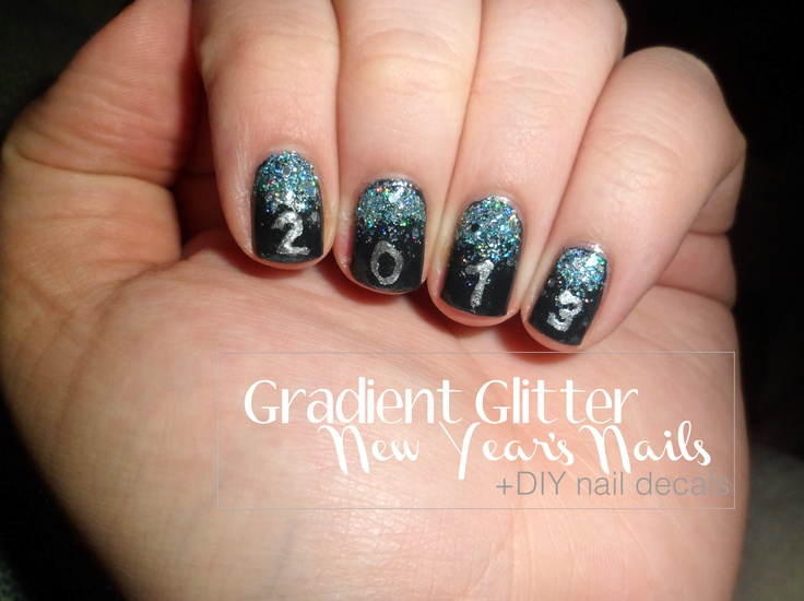 Easy New Year\'s Eve mani + How-to make your own nail stickers ...