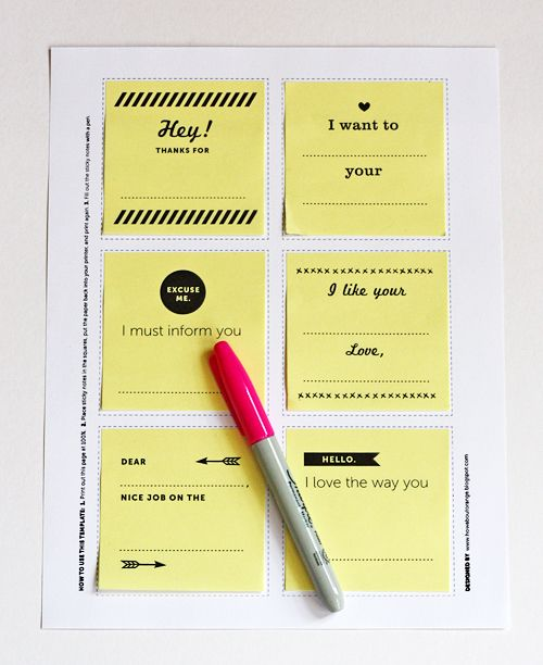 Print your own sticky notes.  from How about Orange