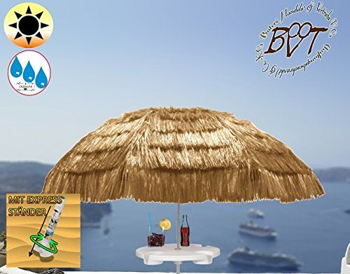 XXL Parasol with Coffee Table, Hawaii Style Beige White, Extreme Weather Resistant for Caribbean Holiday Home, approx. 180cm–200cm Heavy Duty an XXL Folding Umbrella Folding Parasol Sun Shade Garden Outdoor Beach Picnic Camp Fire, Portable, Sea Water, High Quality Tough Rugged HEAVY DUTY Umbrella Folding Umbrella, Beach Umbrellas, Sun Umbrellas, Sun Umbrella, Sun Protection