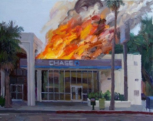 Impasto works depicting branches of Chase bank going up in flames during the daytime.