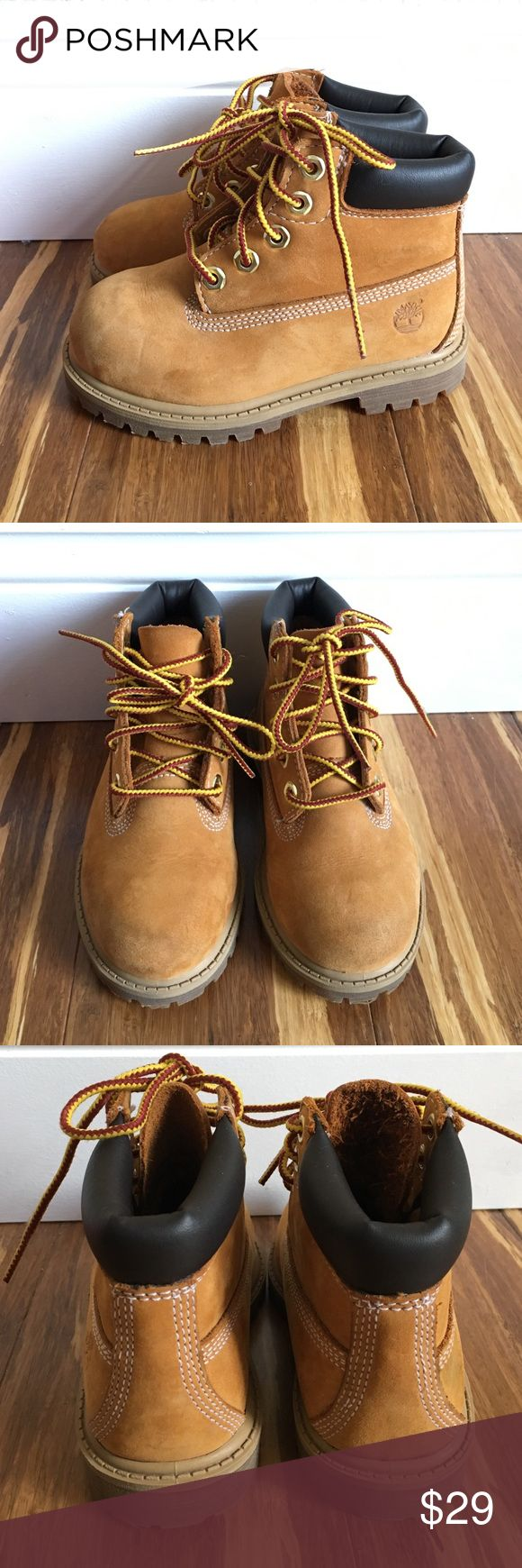 Toddler Timberland Wheat Classic Boots Preloved TIMBERLAND Classic boots in wheat. Genuine leather, Toddler size 8. Shows minor signs of wear at toe (see photos); haven't tried to clean them. Soles are in very good and clean condition. Tons of life left. Timberland Shoes Boots