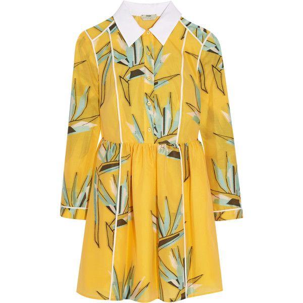 Fendi Cotton-blend jacquard mini dress (1 146 940 LBP) ❤ liked on Polyvore featuring dresses, marigold, jacquard dress, short fitted dresses, fitted dresses, yellow mini dress and short colorful dresses