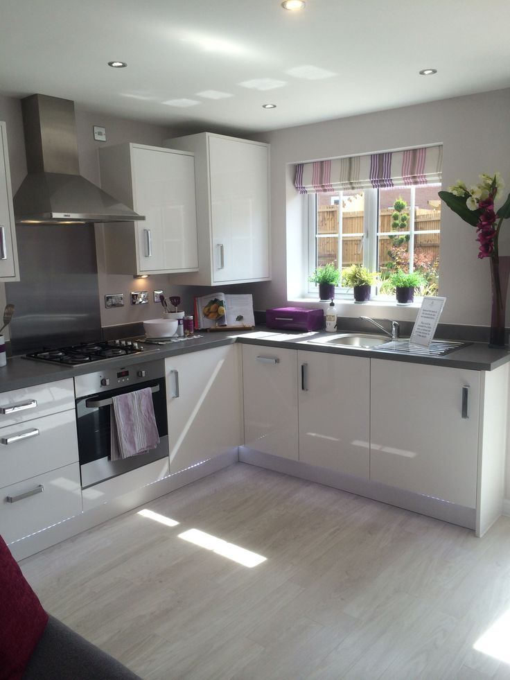Purple and white gloss kitchen grey floor