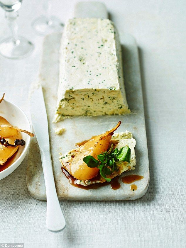 Stilton & Lancashire Cheese Terrine with Spiced Pear Confit - get recipe here: http://www.dailymail.co.uk/femail/article-3994520/Delia-s-Classic-Christmas-Britain-s-favourite-cook-shares-special-occasion-suppers-foolproof-festive-entertaining.html