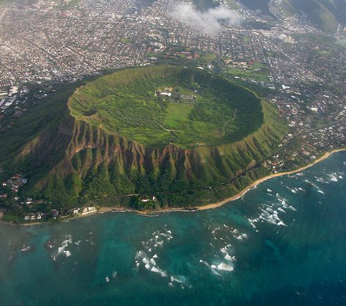 Diamondhead Crater, Oahu, Hawaii  The unique profile of Diamond Head (Le'ahi) sits prominently near the eastern edge of Waikiki's coastline. Hawaii's most recognized landmark is known for its historic hiking trail, stunning coastal views, and military history.