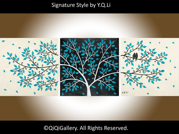 "Romantic Abstract Painting Landscape Painting Impasto wall hanging Palette Knife Love Birds Painting Tree Painting ""Life Is Beautiful"" by QiQiGallery on Etsy"