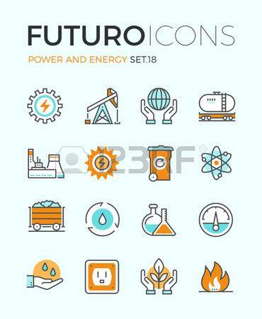 전력 및 에너지 생산의 평면 디자인 요소, 전기 산업, 세계 생태 보전, 석탄 광산 미네랄 라인 아이콘. 현대 인포 그래픽 벡터 로고 그림…