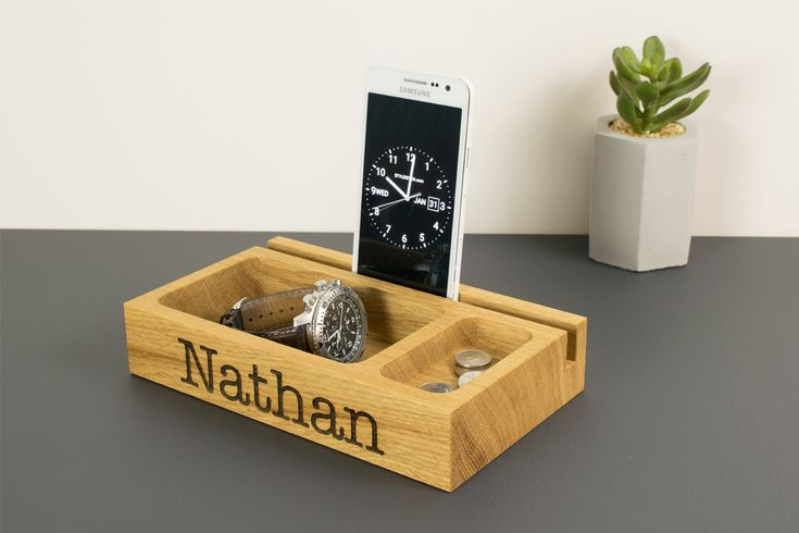Personalised Wooden Phone Stand Catchall Tray by Beam Designs UK. £30.00