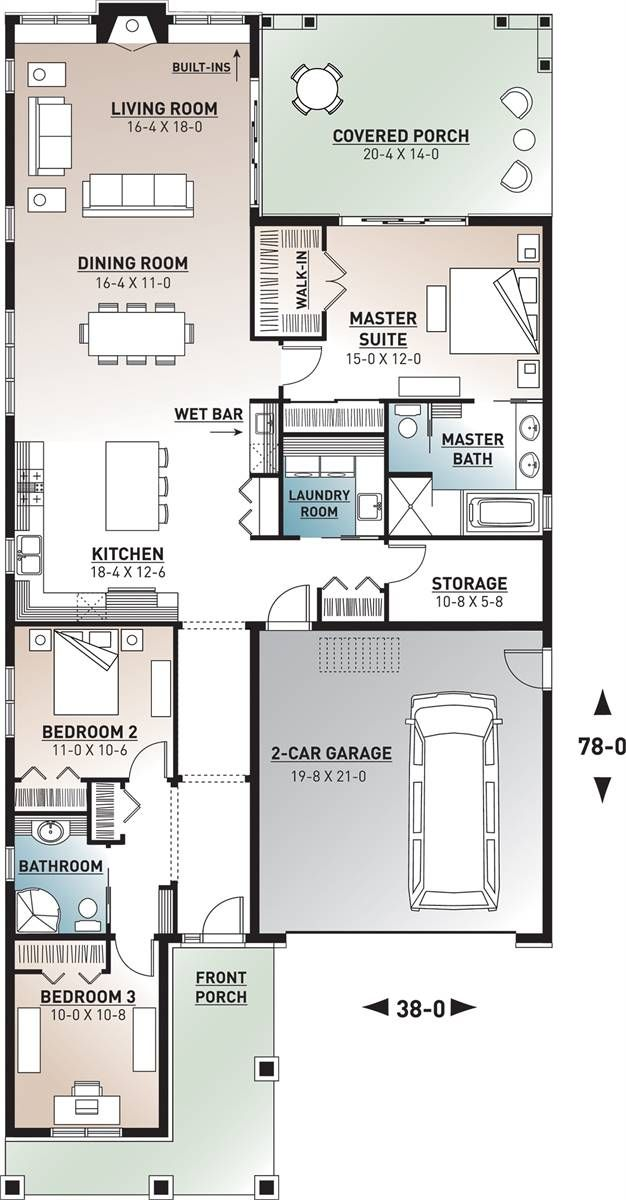 Craftsman House Plan With 3 Bedrooms And 2 Bathrooms Plan 4770 Bungalow Floor Plans Narrow House Plans House Plans