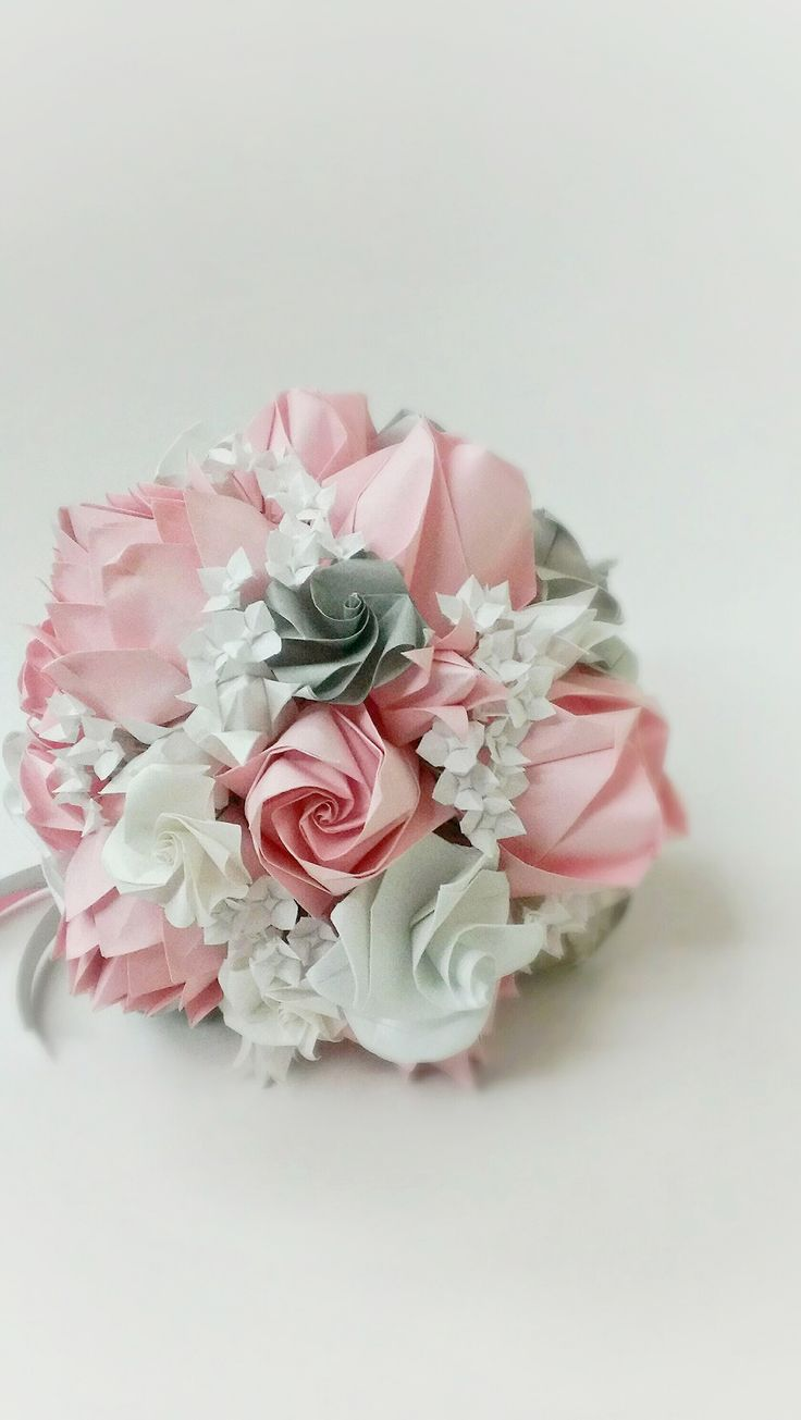 Pastel pink and muted grey Bridal Origami Bouquet