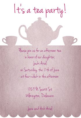 """Tea Party"""" printable invitation template. Customize, add text and ..."""