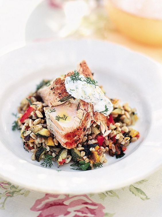 Simple baked salmon with dill yoghurt- Jamie Oliver Recipe