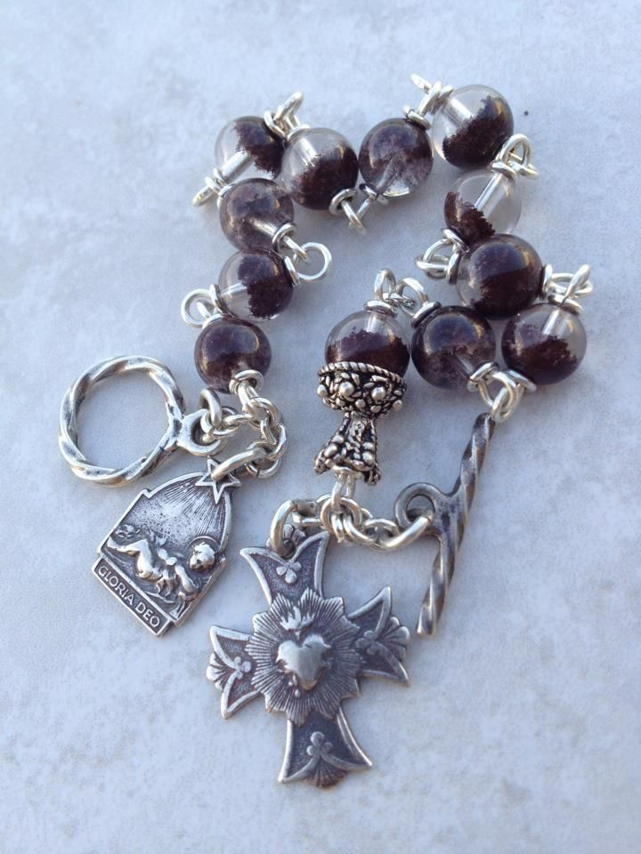 My new style chainwork tenner~bracelets in sterling silver with One Our Father and ten Hail Mary's divided by a rosary centre which is the ...