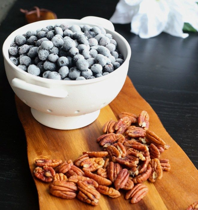 Blueberries and Pecans Still Life for Pumpkin Blueberry Baked Oatmeal