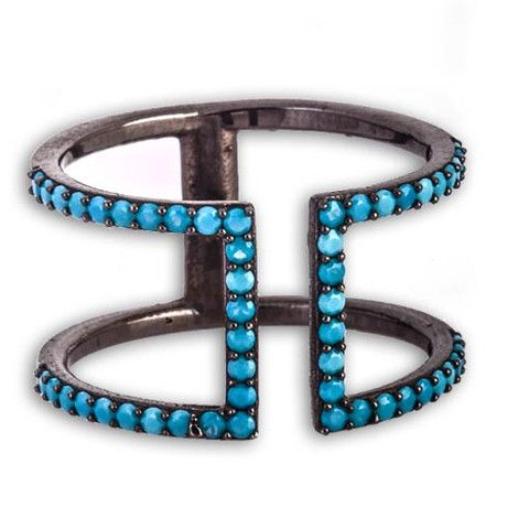 Rhodium Plated Silver Ring With Turquoise Cubic Zirconia