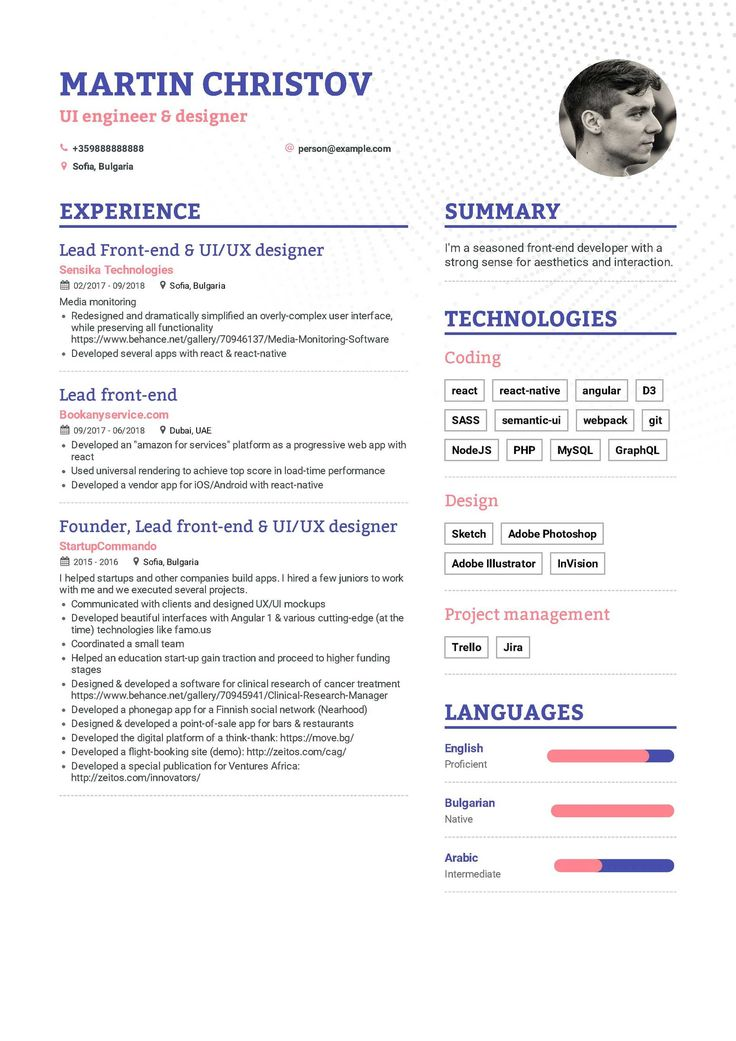 Download front end developer resume example for 2020