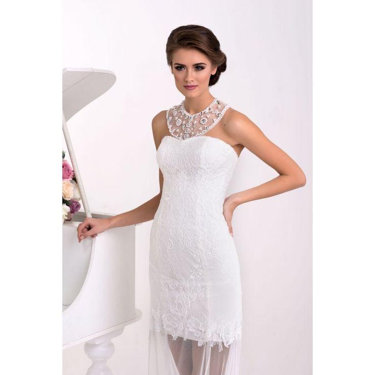 Lavens - asymetrické honosné svadobné šaty zdobené perličkami,kamienkami a korálikmi