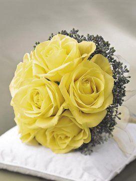 Lemon posy wedding bouquet