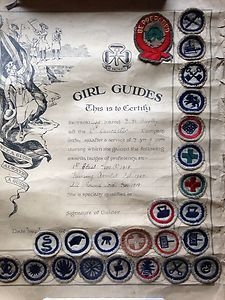 UK Girl Guide Badges from 1915-1922. All earned by one girl. Badges made of felt.