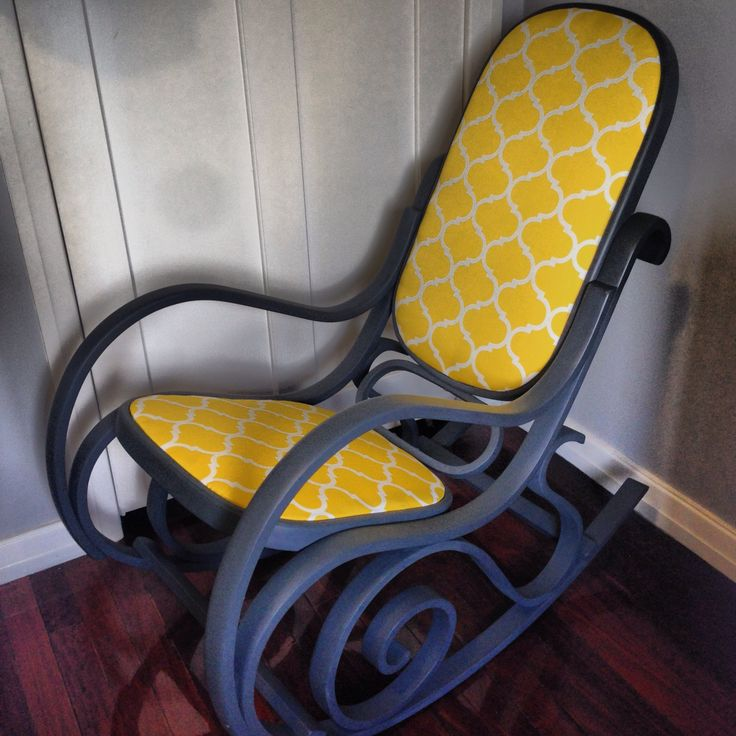 Bentwood rocking chair repainted and reupholstered in grey and yellow