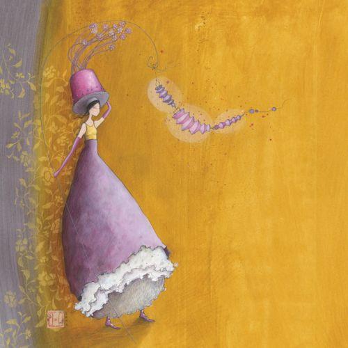 """Gaëlle Boissonnard square card (14 cm) """"Le chapeau aux fleurs"""""""