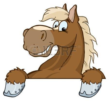 Horse Mascot Cartoon Head  Stock Vector