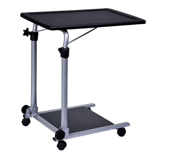 Aosom Black / Silver Portable Rolling Laptop Cart On Wheels $48.99