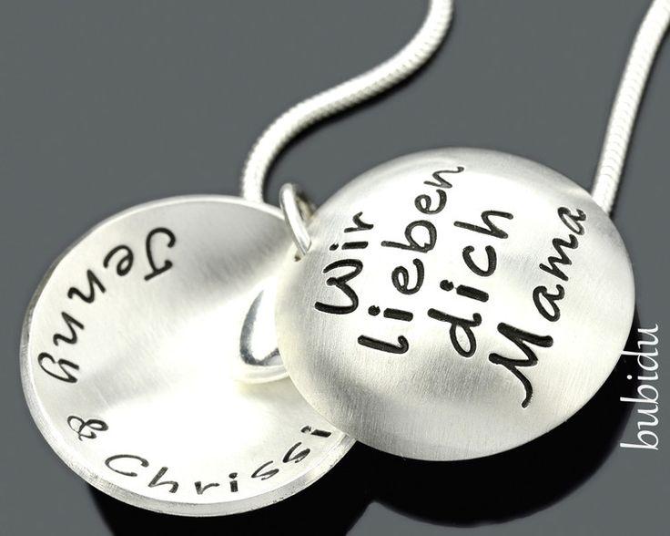 Medaillonketten - Medaillion mit Gravur, Schmuck mit Namen, Kette - ein Designerstück von bubidu bei DaWanda