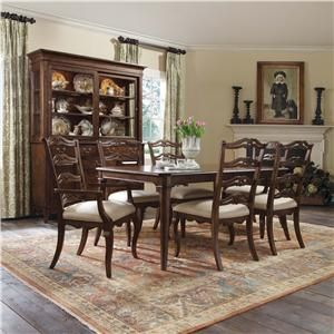 Homecoming 7 Piece Dining Set With Clip Corner Rectangular Table Pierced Ladderback Chairs By Kincaid