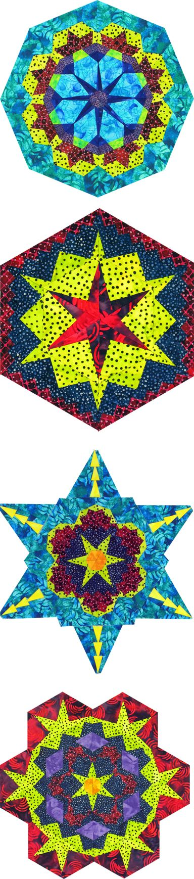 Kaleidoscopes pieced from rows of triangles manipulated and cut into wedges. Strip Piecing, Rita Hutchens, Quilt Patterns.