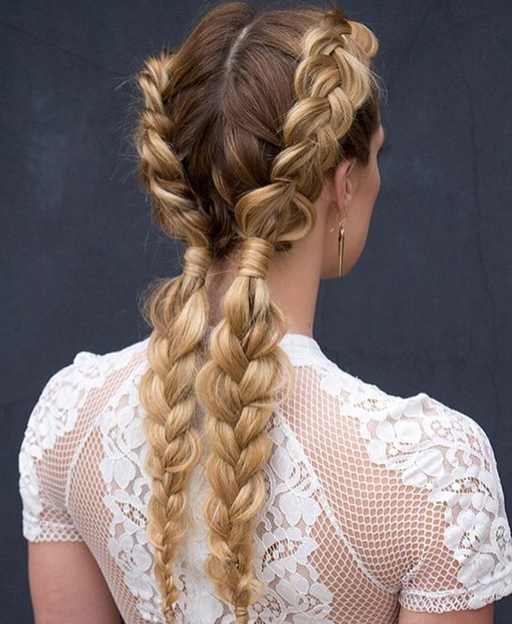 Love the way they're tied off at the nape of neck -- might be cute to finish with a different type of braid