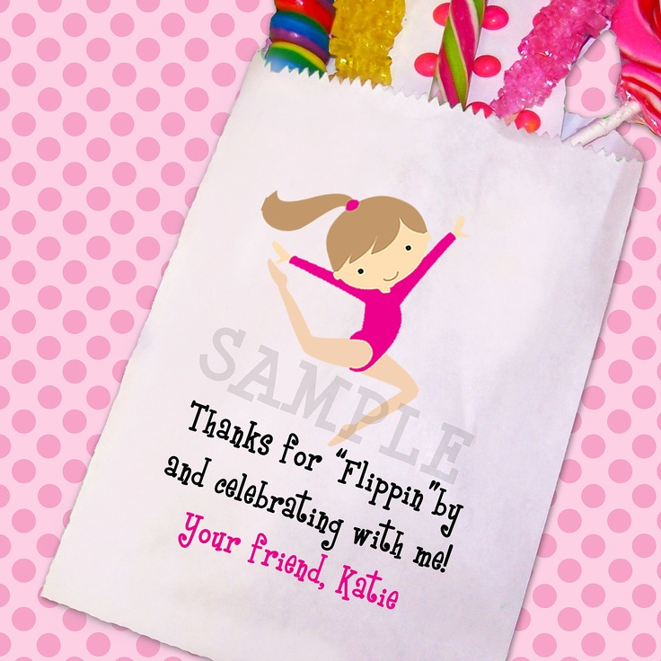 Gymnastics Birthday Party, Gymnastics Candy Bags, Goody Bags, Party Favor Bag, Cookie Bags Set of 25. $22.00, via Etsy.